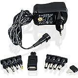 CSL - Bloc d'alimentation universel 3 / 4,5 / 5 / 6 / 7,5 / 9 et 12 V AC/DC 1000 mA, 9 fiches| adaptateur de voyage