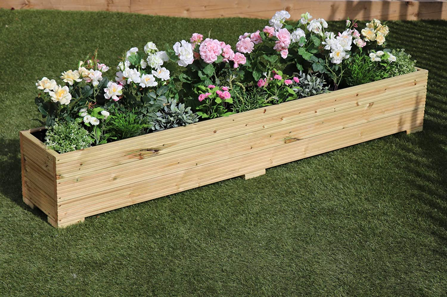Flower Planter Decking Garden Plant Tub Trough Square 30cm Wooden Patio Tree