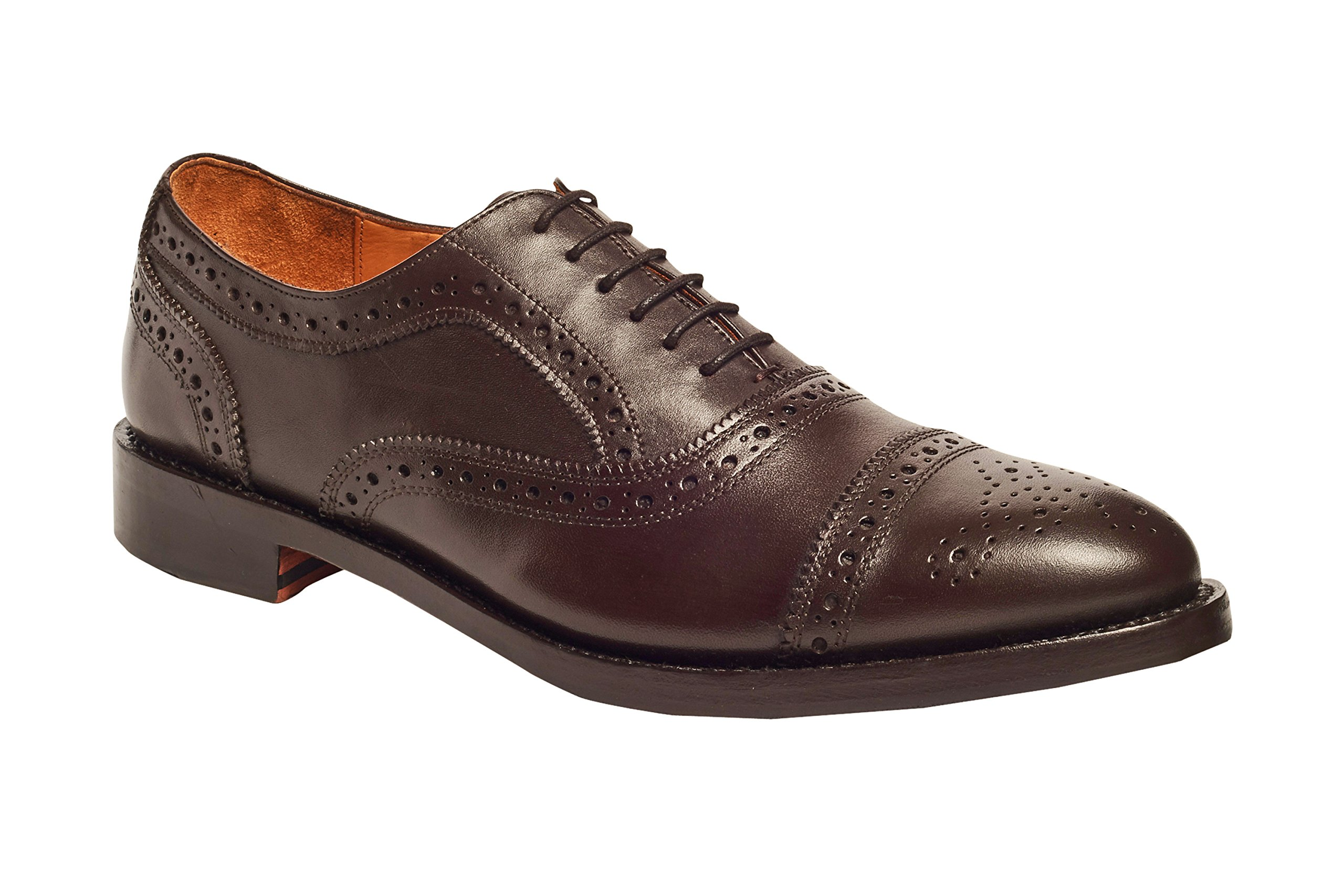 Anthony Veer Mens Ford Oxford Semi Brogue Leather Shoes in Goodyear Welted Construction (11.5 D, Brown)