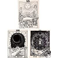 Kingmall Tarot Tapestry 3 Pack, The Sun The Moon The Star Tapestry Medieval Europe Divination Tapestry Wall Hanging…