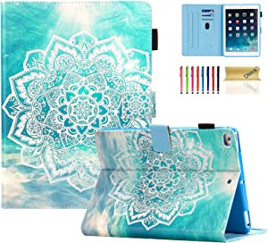 iPad 9.7 inch 2018/2017 Case, iPad Air 2 Case, iPad Air Case, Dteck PU Leather Folio Adjustable Stand Auto Wake/Sleep Smart Wallet Case for Apple iPad 6th / 5th Gen,iPad Air 1/2, Mandala Flower