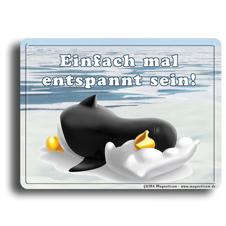 Guma Magneticum Kühlschrankmagnet Sprüche Einfach Mal Entspannt Sein Pinguin Schlafmütze Humor Lustig