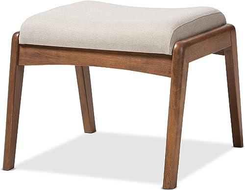 Baxton Studio Elyse Walnut Wood Light Beige Fabric Upholstered Footstool