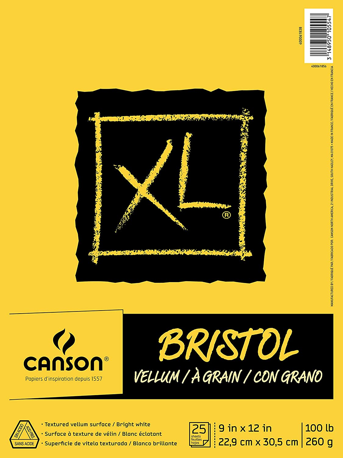 Canson XL Series Bristol Vellum Paper Pad, Heavyweight Paper for Pencil, Vellum Finish, Fold Over, 100 Pound, 9 x 12 Inch, Bright White, 25 Sheets
