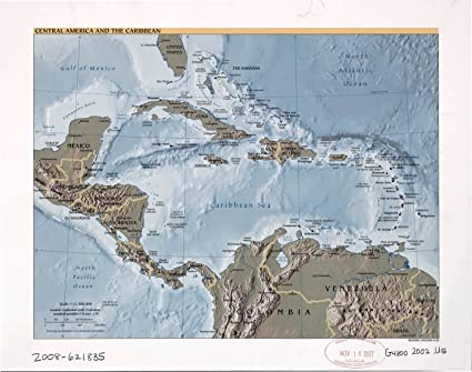 Amazon.com: Map Poster - Central America and the Caribbean. - 24\