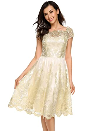 90a5bc7f91c99 FANEO Women Casual Dress Boat Neck Cap Sleeve Floral Net Yarn Knee Pleated