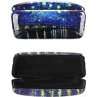 Molshine Oil Painting Pattern Bling Glitter Smooth Portable Hard Shell Eyeglasses Glasses Case for Reading Glasses