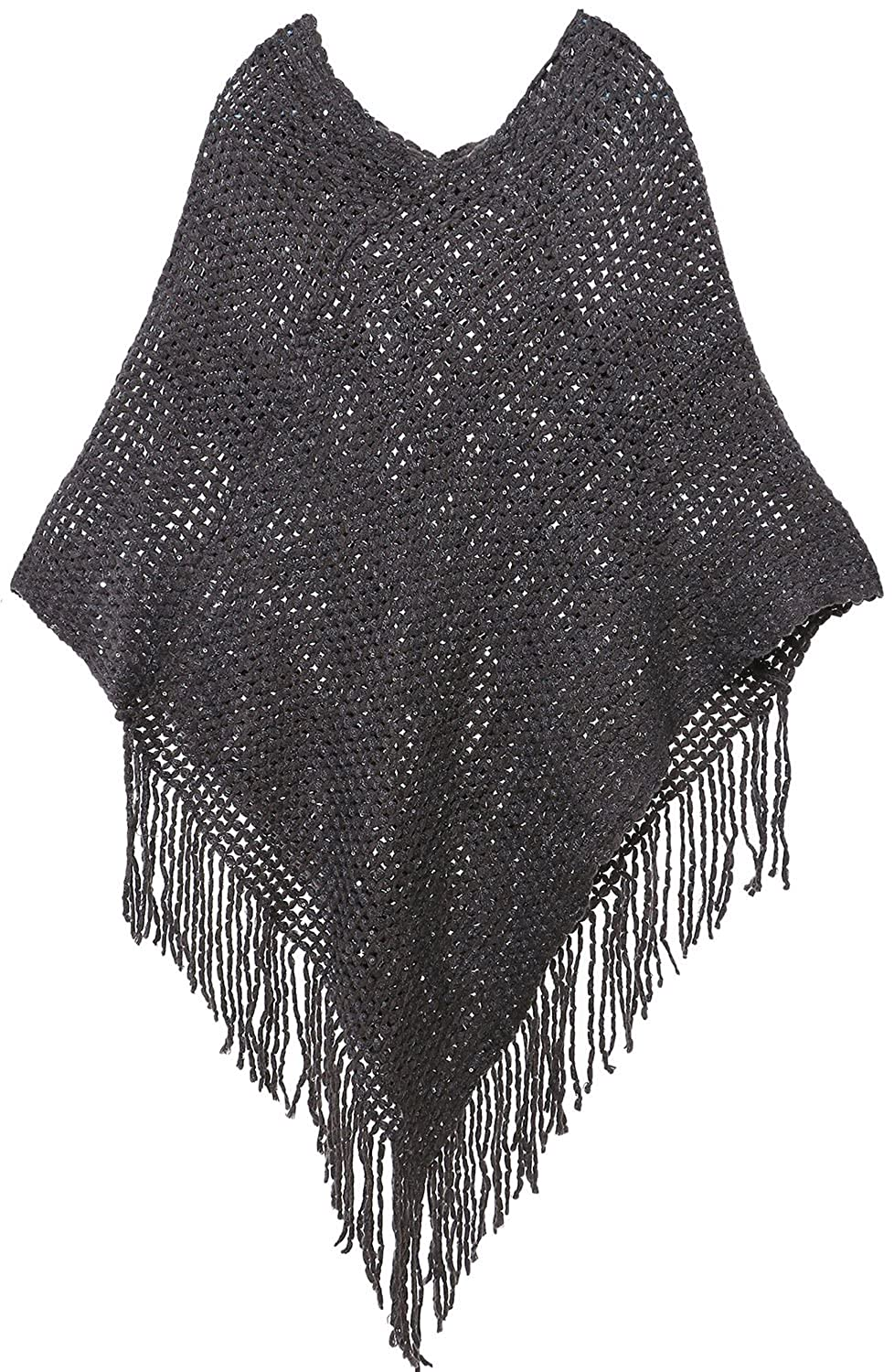 Charcoal Livingston Women's Soft Cozy Knit Fringed Shawl Wrap w Sequins