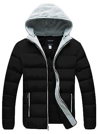 1663b9eb6580 Lega Mens Warm Hoodie Hooded Coat Classic Winter Outwear Down Jacket Black  Small
