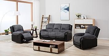 Tremendous New Marsha Fabric Reclining Sofa Set Black And Grey 3 1 1 Armchairs Theyellowbook Wood Chair Design Ideas Theyellowbookinfo