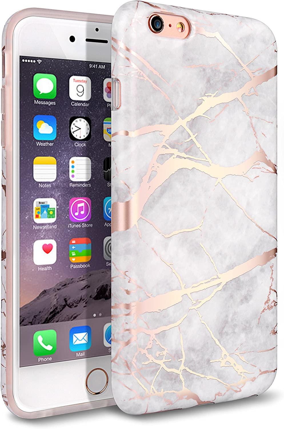 iPhone 6 Plus Case, iPhone 6S Plus Case, Shiny Rose Gold White Marble Design,WORLDMOM Clear Marble Pattern Slim TPU Soft Rubber Hybrid Shockproof Protective Case for iPhone 6 Plus / 6S Plus (Marble)
