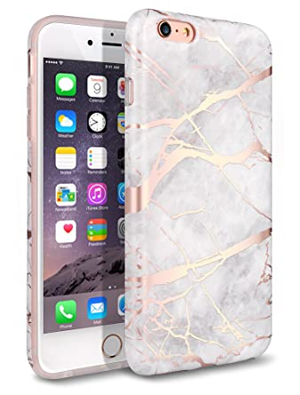 super popular 2aa02 83eaf iPhone 6 Plus Case, iPhone 6S Plus Case, Shiny Rose Gold White Marble  Design,WORLDMOM Clear Marble Pattern Slim TPU Soft Rubber Hybrid Shockproof  ...
