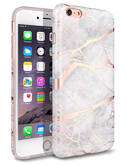 d4f413997c7 iPhone 6 Plus Case, iPhone 6S Plus Case, Shiny Rose Gold White Marble Design
