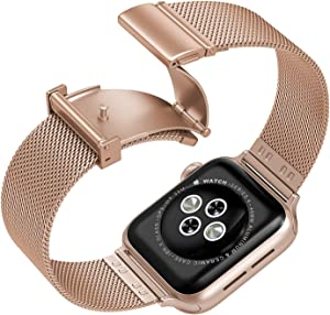 Compatible with Apple Watch Band 42mm 44mm,Upgraded Version Stainless Steel Bands Business Replacement iWatch Strap for Apple Watch Series 6/5/4/3/2/1/SE Sport Edition Women Men, Rose Gold