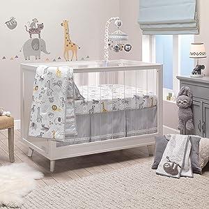 Lambs & Ivy Animal Jungle Cotton Jersey 4-Piece Crib Bedding Set - Multicolor