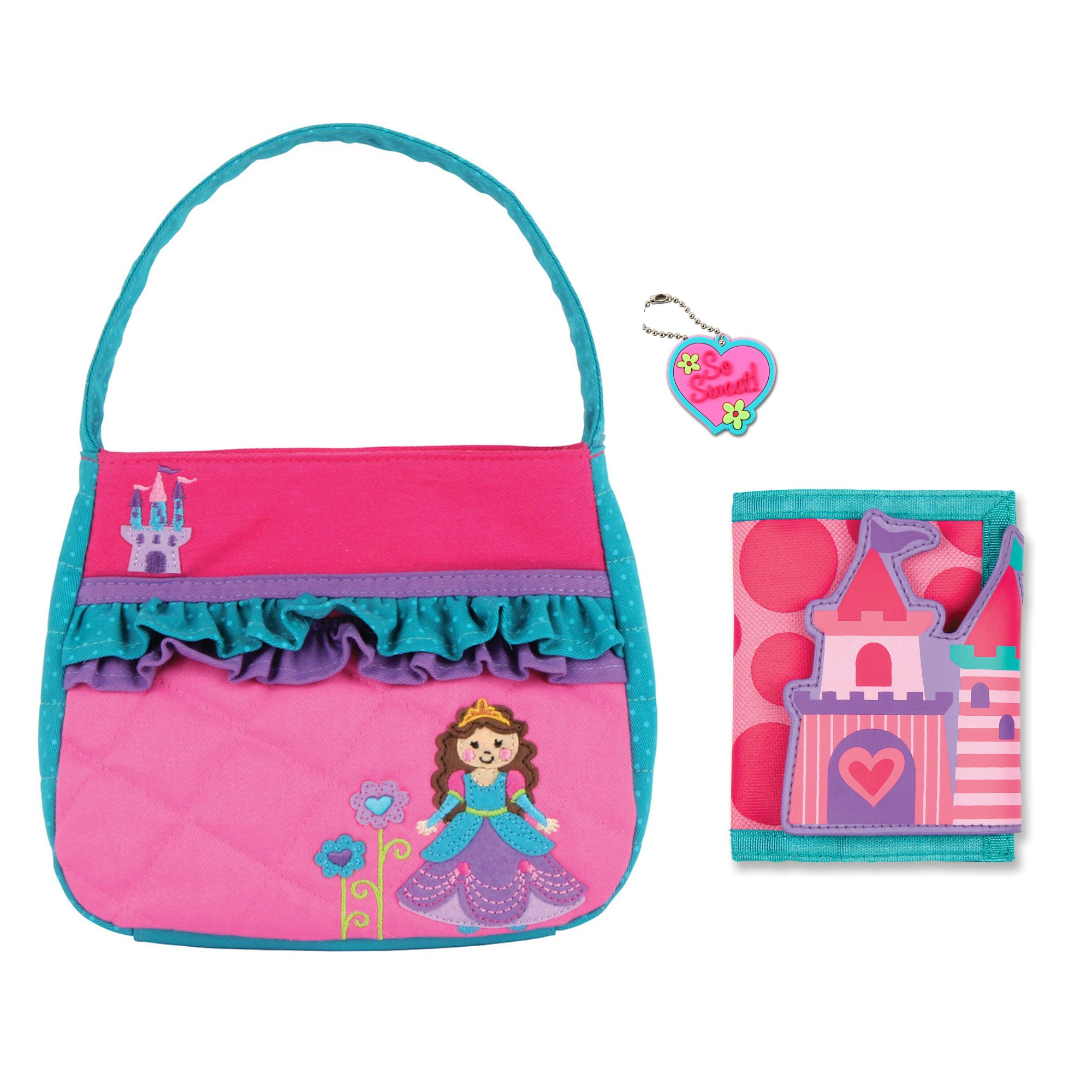 Stephen Joseph Girls Quilted Princess Purse and Castle Wallet with Charm