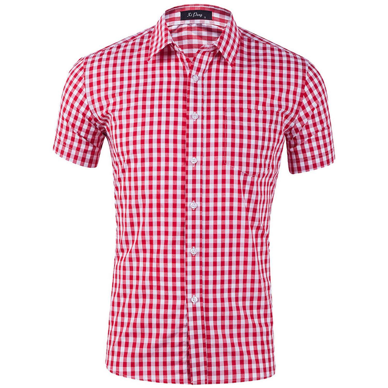 Men Short Sleeve Shirt Cotton Casual Print Business Social Office Tops Lapel Plus Size,Pink,L