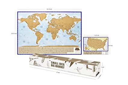 Amazon scratch off world map with bonus a4 map of usa scratch scratch off world map with bonus a4 map of usa scratch the world map poster gumiabroncs Image collections