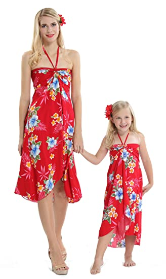 38db114277c7 Matching Hawaiian Luau Mother Daughter Butterfly Dress in Hibiscus Red:  Amazon.co.uk: Clothing