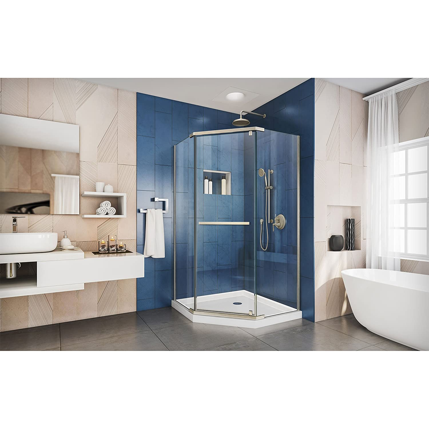 DreamLine Prism 36 1/8 in. D x 36 1/8 in. W, Frameless Pivot Shower ...