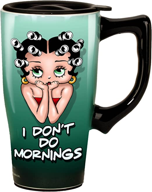 Betty Boop Coffee Travel Mug Double Walled Ceramic Hot Tea Thermal Cup 14 Ounce