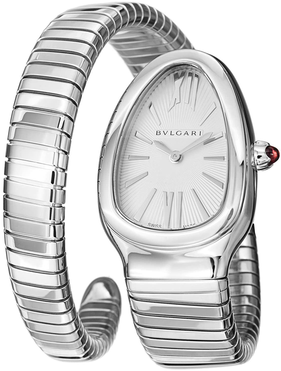 Amazon.com: Bvlgari Serpenti Ladies Silver Face Watch SP35C6SS.1T: Bvlgari: Watches