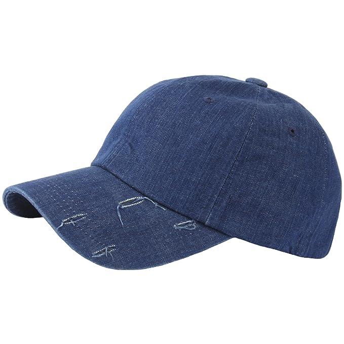 RaOn B277 Denim Cool Washing Distressed Vintage Ripped Ball Cap Baseball Hat  Truckers (Blue) 88e4fe9eb4b