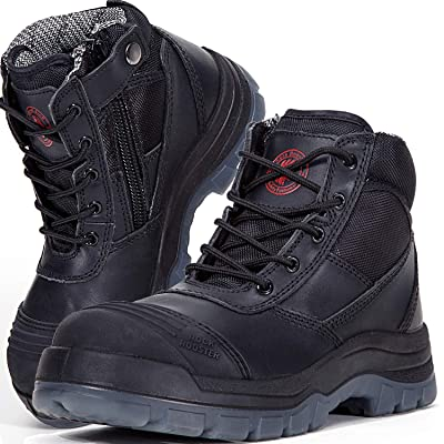 ROCKROOSTER Mens Work Boots Zipper, Steel Toe, 6'' Safety Shoes, Static Dissipative, Anti-Fatigue(AK050bk 9): Shoes