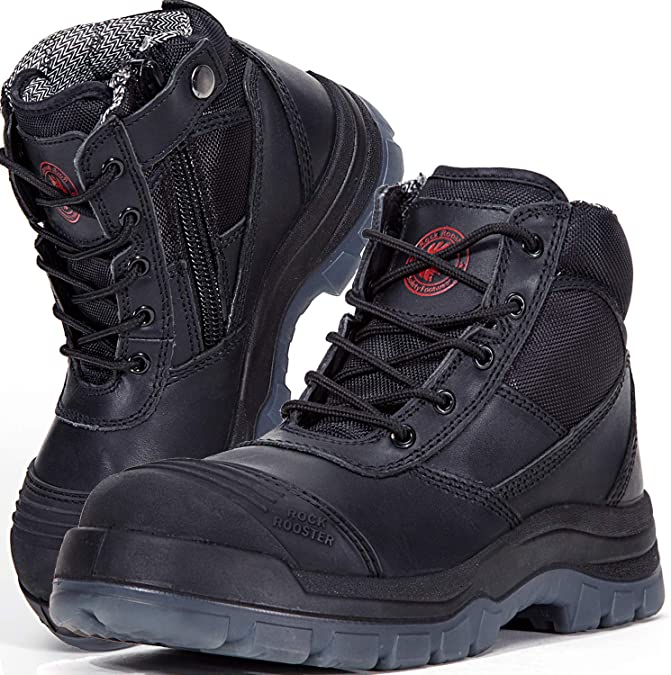 ROCKROOSTER Men's Work Safety Boots, Steel Toe, YKK Zipper