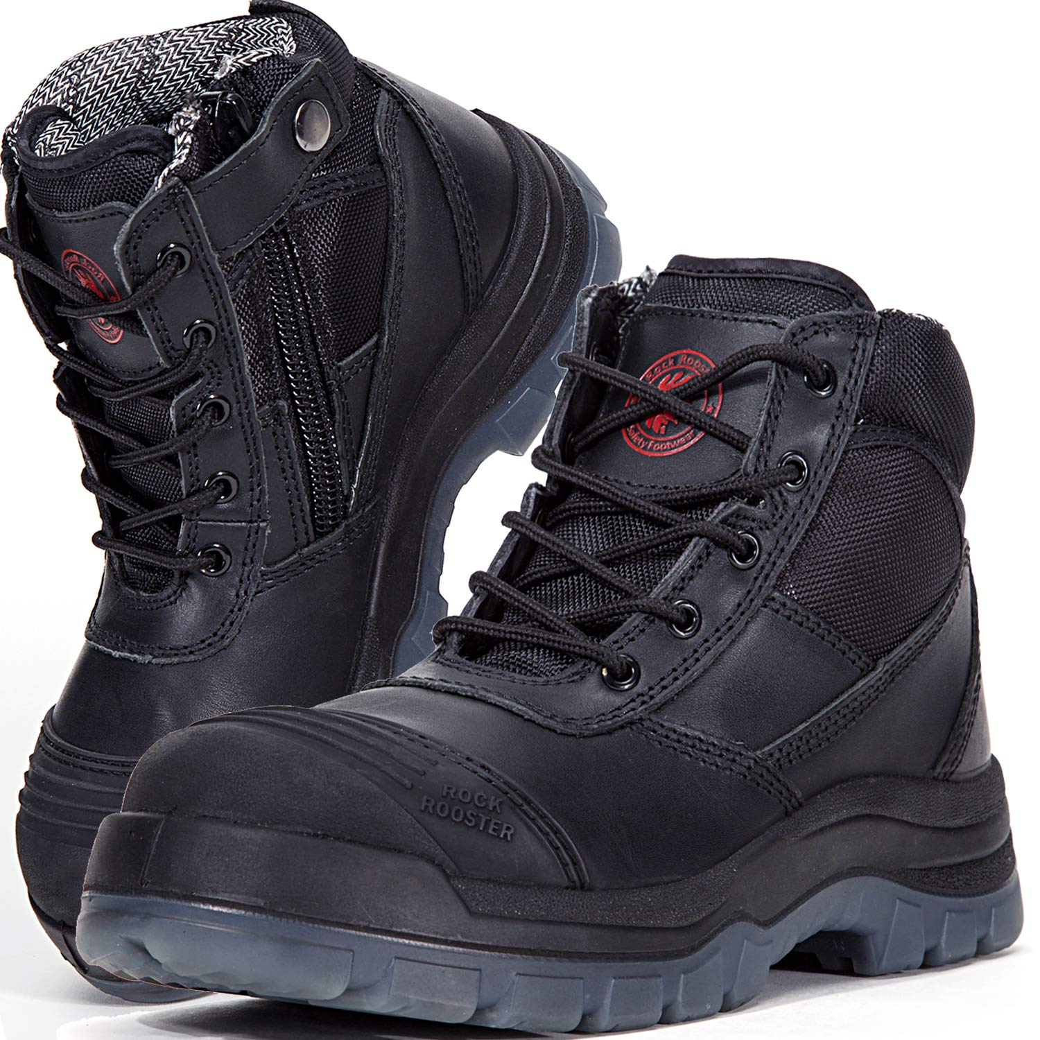 6ddc51b139f ROCKROOSTER Men's Work Boots Waterproof, Steel Toe, Antistatic, Water  Resistant Leather Shoes, AK050