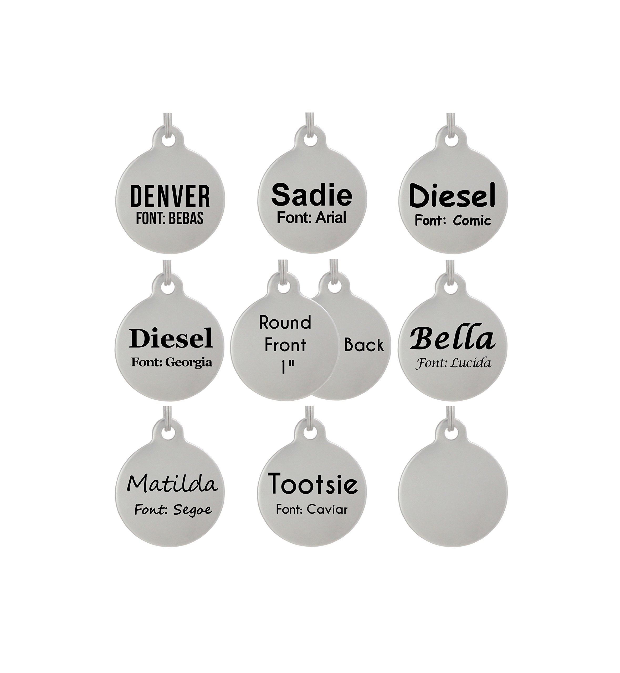 ded20cc6879c Laser Etched Stainless Steel Pet ID Tags Custom Personalized for Dog   Cat  Paw Print Bone