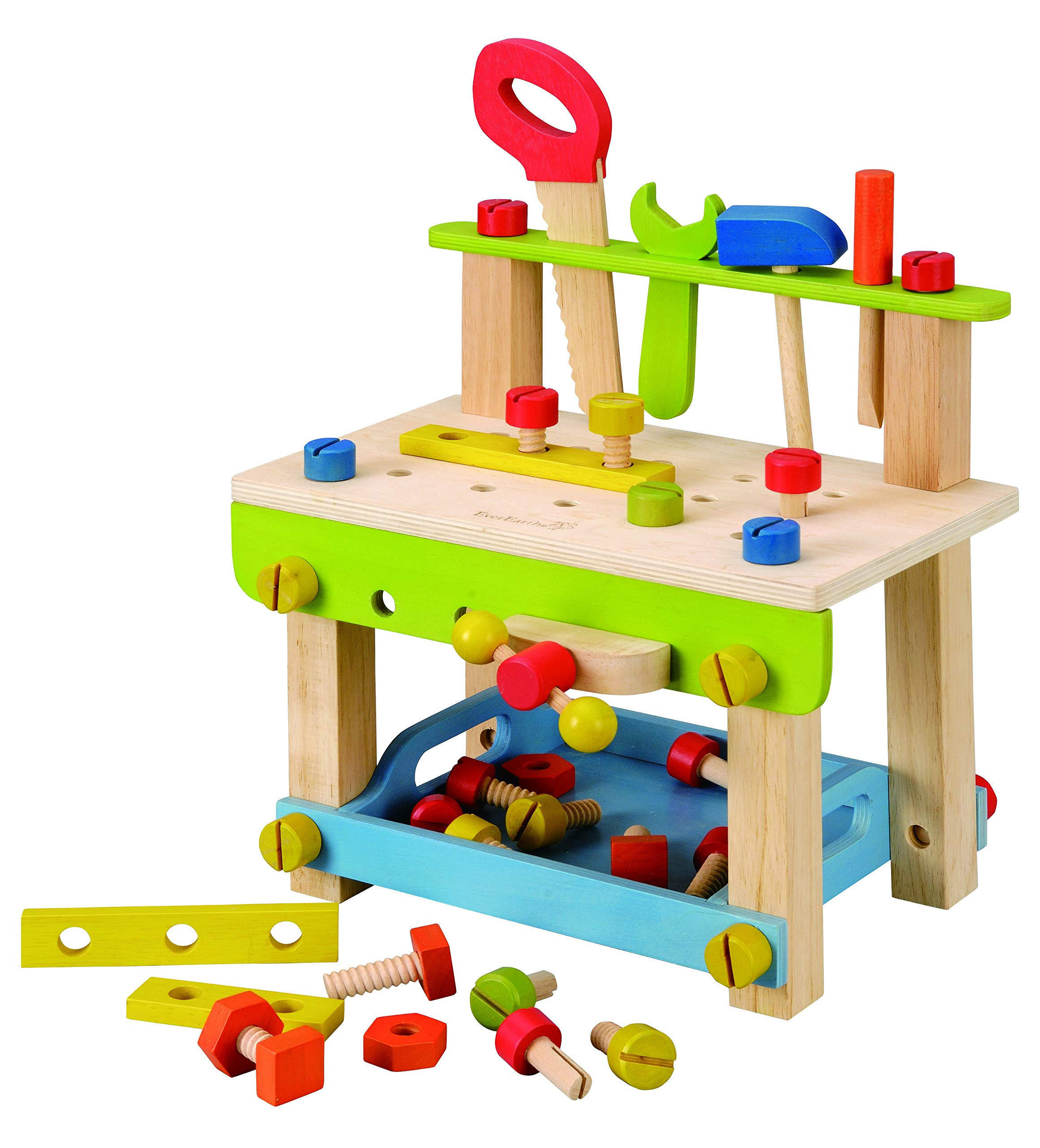 EverEarth Toddler Workbench with Tools. Wooden Building Set Hammer Toy by EverEarth