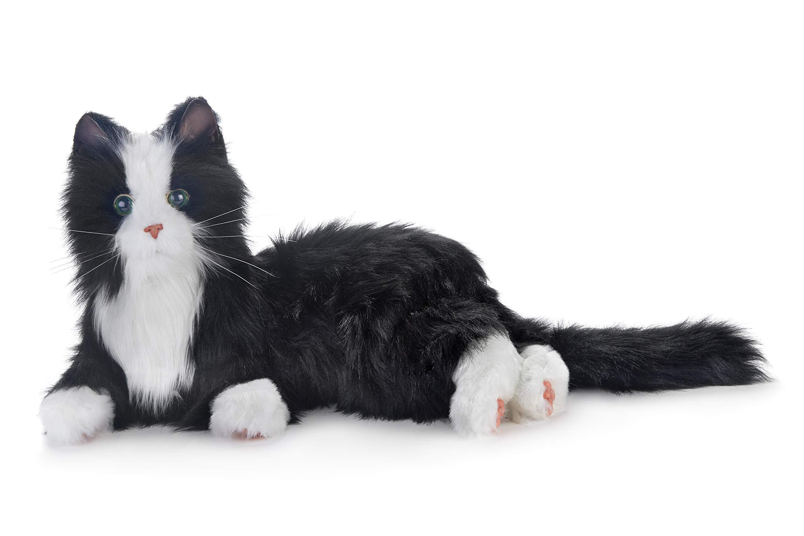 New Joy for All Robotic Reclining Black & White Tuxedo Cat - Stuffed Animal Therapy for People with Memory Loss from Aging and Caregivers by Memorable Pets