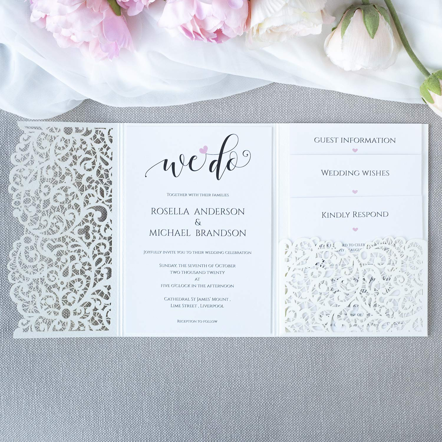 IVORY LASER CUT WEDDING INVITATIONS WITH ENVELOPES PRINTABLE TEMPLATE FREE SHIP!