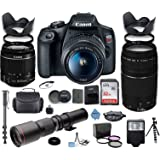 Canon EOS Rebel T7 DSLR Camera with 18-55mm is II Lens Bundle + Canon EF 75-300mm f/4-5.6 III Lens and 500mm Preset Lens + 32