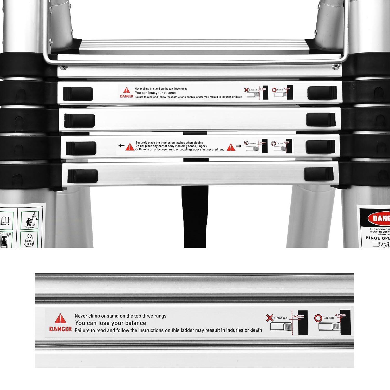 Multifonctions, Extendable, Aluminium, Certifi/é EN131, R/ésistance /à 150kg Wohl-H 3.8 M /Échelle T/élescopique 2 en 1 Escabeau 1.9M+1.9M Pliant Ladder