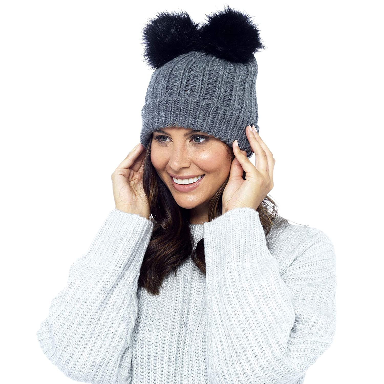 da8ee54e62e DINZIO Ladies Womens Girls Winter Beanie Bobble Hat with Twin Faux Fur Pom  Pom (Grey)  Amazon.co.uk  Clothing