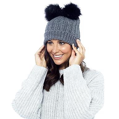 c6029b48452 DINZIO Ladies Womens Girls Winter Beanie Bobble Hat with Twin Faux Fur Pom  Pom (Grey)  Amazon.co.uk  Clothing