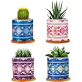Kikunum Succulent Pots - 3 Inch Cylindrical Bohemian Mandalas Ceramic Planter for Cactus, Succulent Planting, with Drainage Hole, Bamboo Trays, Set of 4