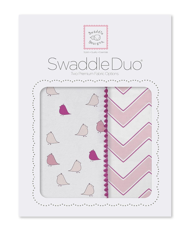 SwaddleDesigns Emmailotage Turquoise Flanelle de Coton de premi/ère qualit/é Petits Poussins et Chevrons SwaddleDuo Set de 2 Mousseline de Coton