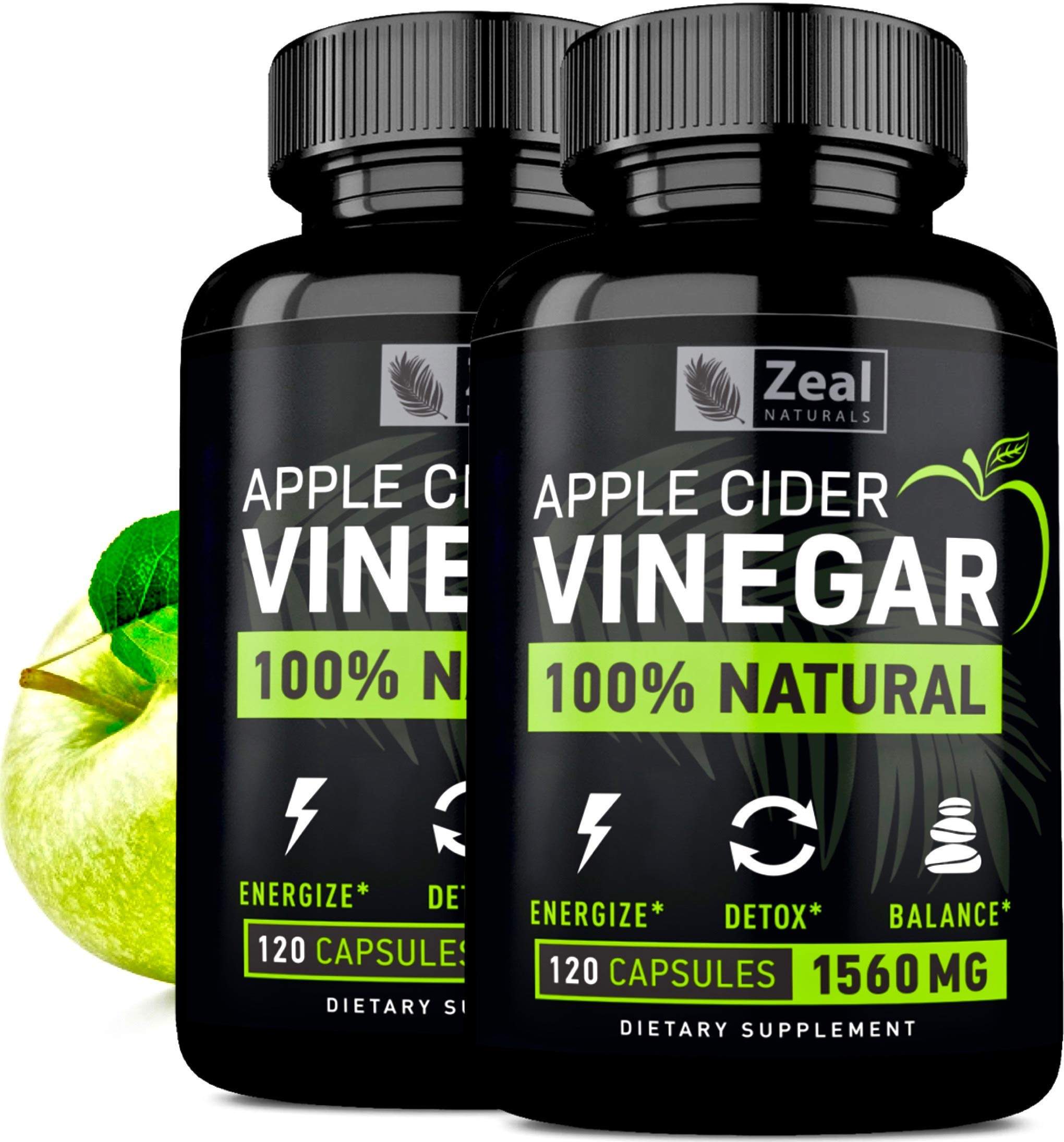 (2-Pack) 100% Natural Raw Apple Cider Vinegar Pills (1500 mg | 240 Capsules) Pure Apple Cider Vinegar Tablets with Cayenne Pepper for Detox Cleanse Weight Loss, Appetite Suppressant, Bloating Relief