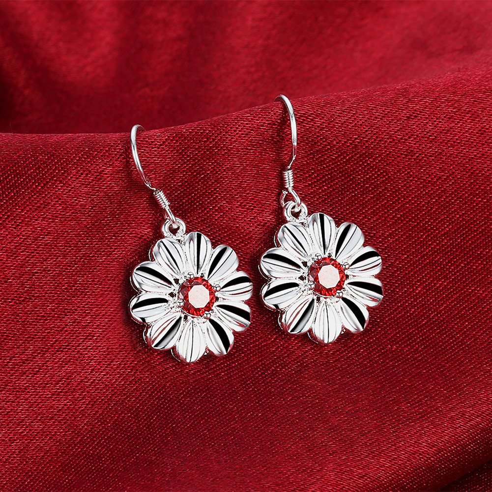 MXYZB Silver Plated Daisy Flower Dangle Earrings Red Cubic Zirconia Jewelry for Women Girls by MXYZB (Image #6)