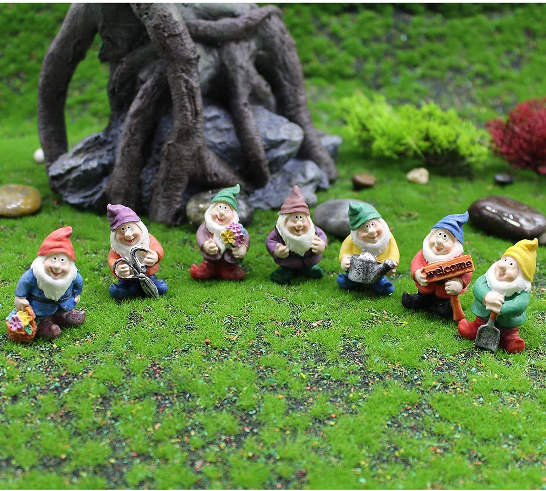 Shipping by Amazon Set 7 Pcs Fairy Mini Garden Accessories Outdoor for Fairy Gardens Decoration , Gnomes Garden Decorations-Mini Gnomes Fairy Garden Set Seven Dwarfs Statue