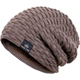 7c044f8ddb8 PAGE ONE Mens Winter Thick Warm Cable Knit Beanie Hat Soft Fleece Lined  Stretch Slouchy Skully