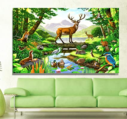 Beautiful Canvas Unframed Wall Painting Deers In The Jungle For