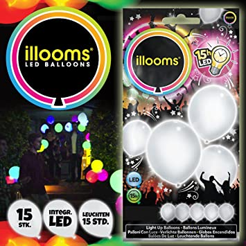 illooms LED Luftballons 15 Stück rot-blau-weiß Leuchtende Ballons Das Original