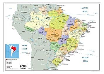 Brazil Political Map Paper Laminated A0 Size 84 1 X 118 9 Cm