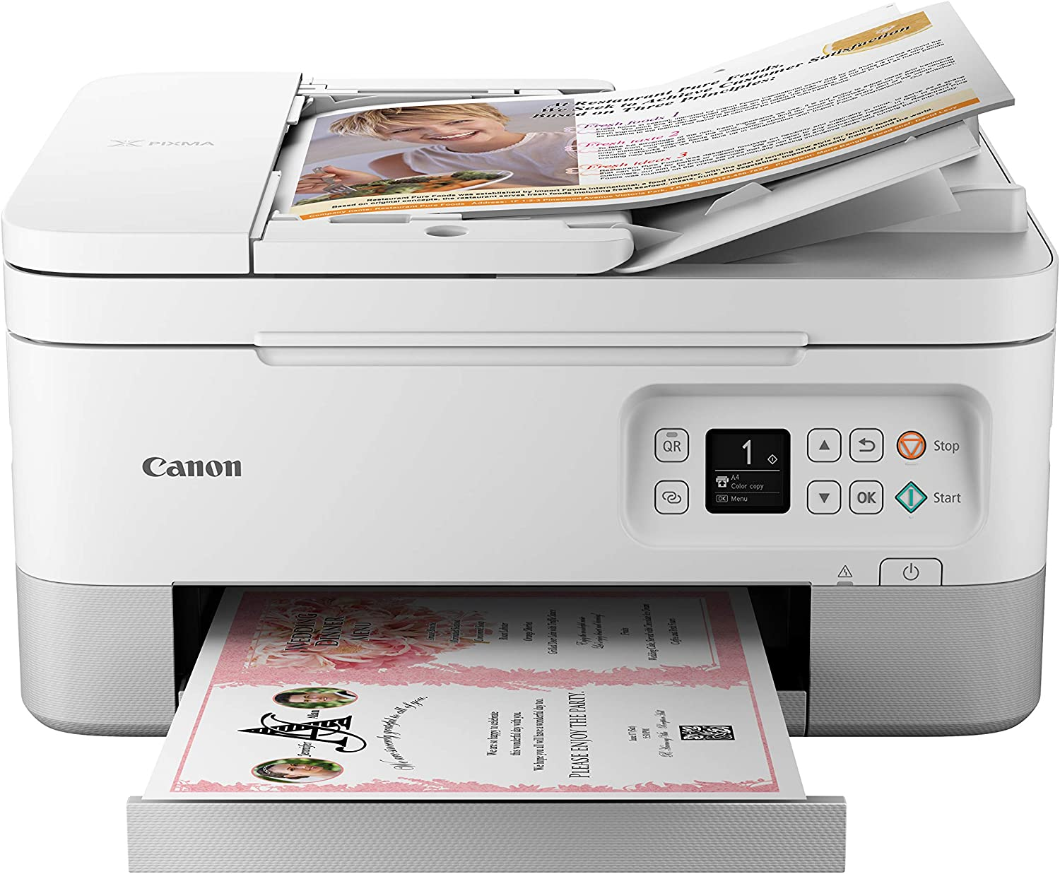 Canon TR7020 All-In-One Wireless Printer For Home Use, White