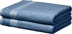 AmazonBasics Everyday Bath Towels, Set of 2, Cornflower Blue, 100% Soft Cotton, Durable