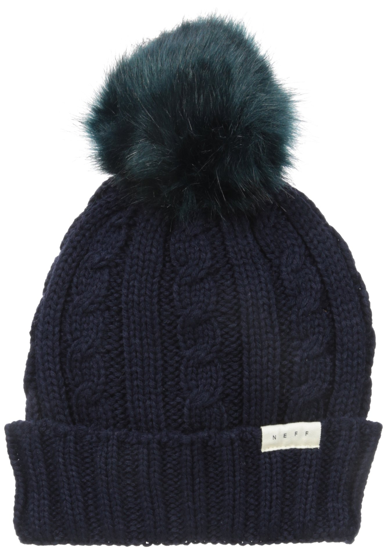 e4aa5962db2 NEFF Women s Mae Cable Beanie with Faux Fur Pom